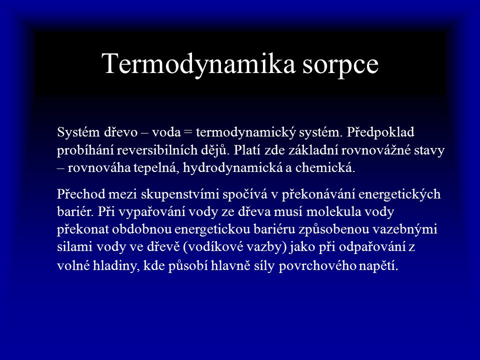 Termodynamika sorpce