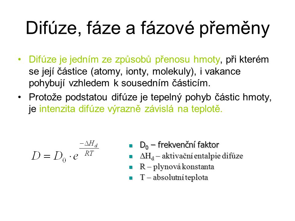Difúze, fáze a fázové přeměny
