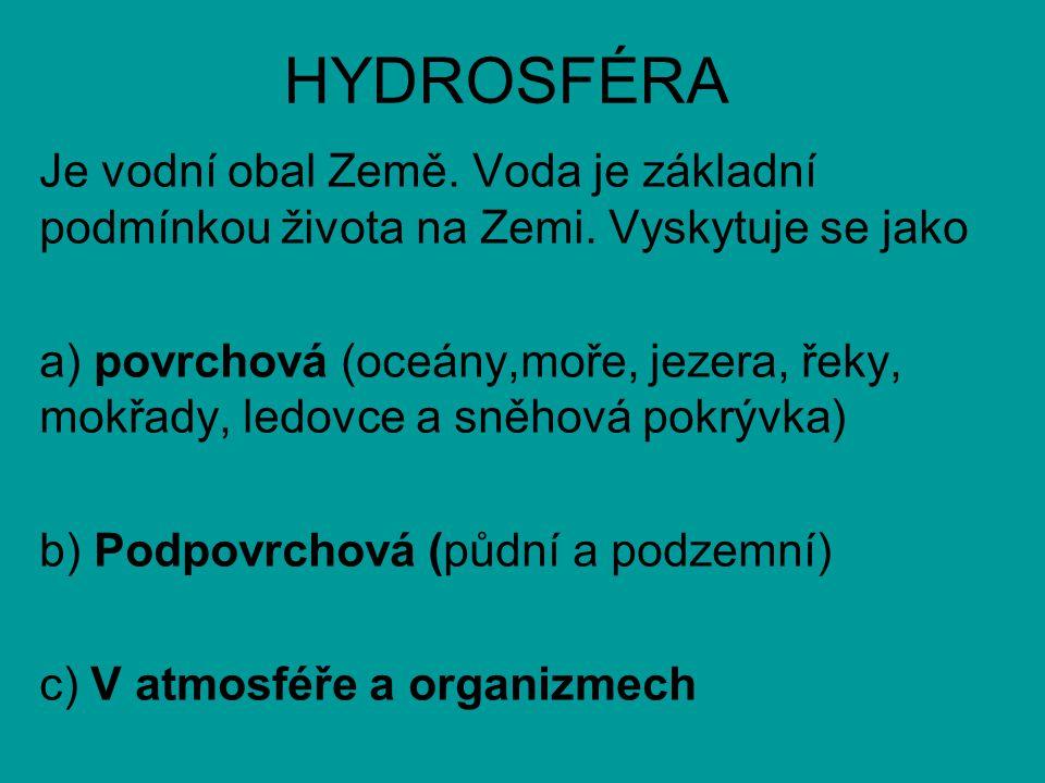 HYDROSFÉRA Je vodní obal Země. Voda je základní podmínkou života na Zemi. Vyskytuje se jako.