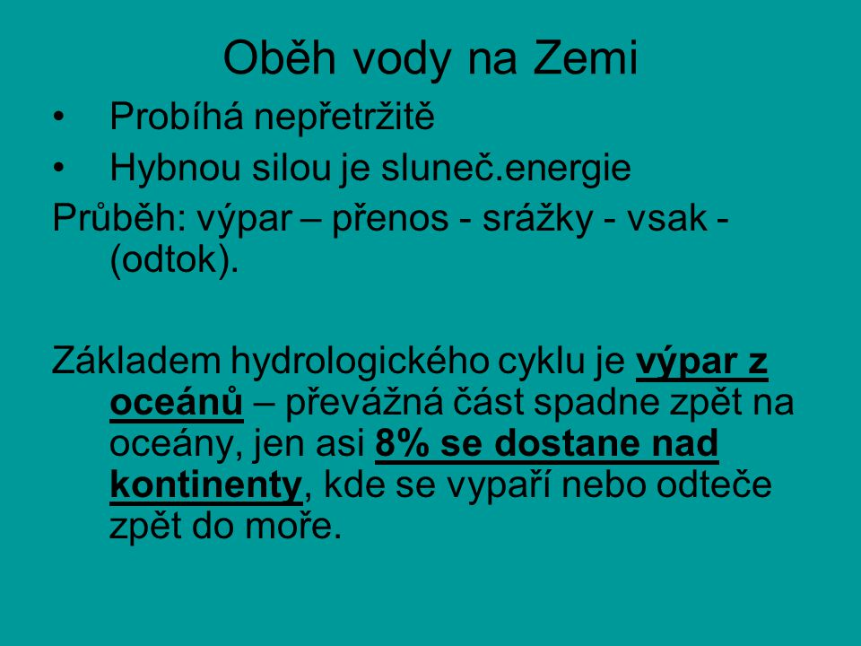 Oběh vody na Zemi Probíhá nepřetržitě Hybnou silou je sluneč.energie