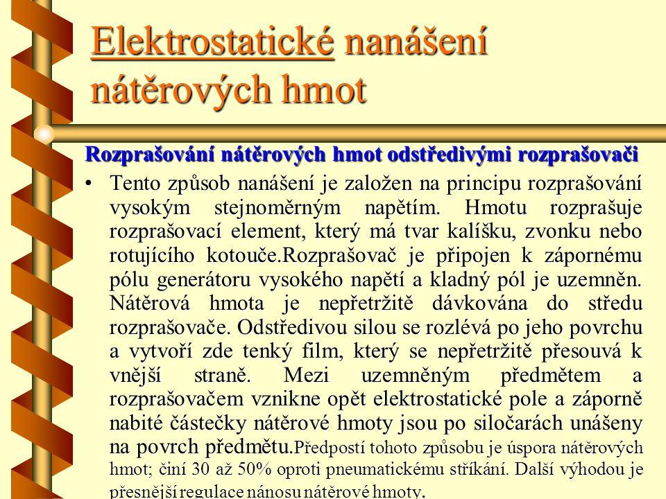 Elektrostatické nanášení nátěrových hmot