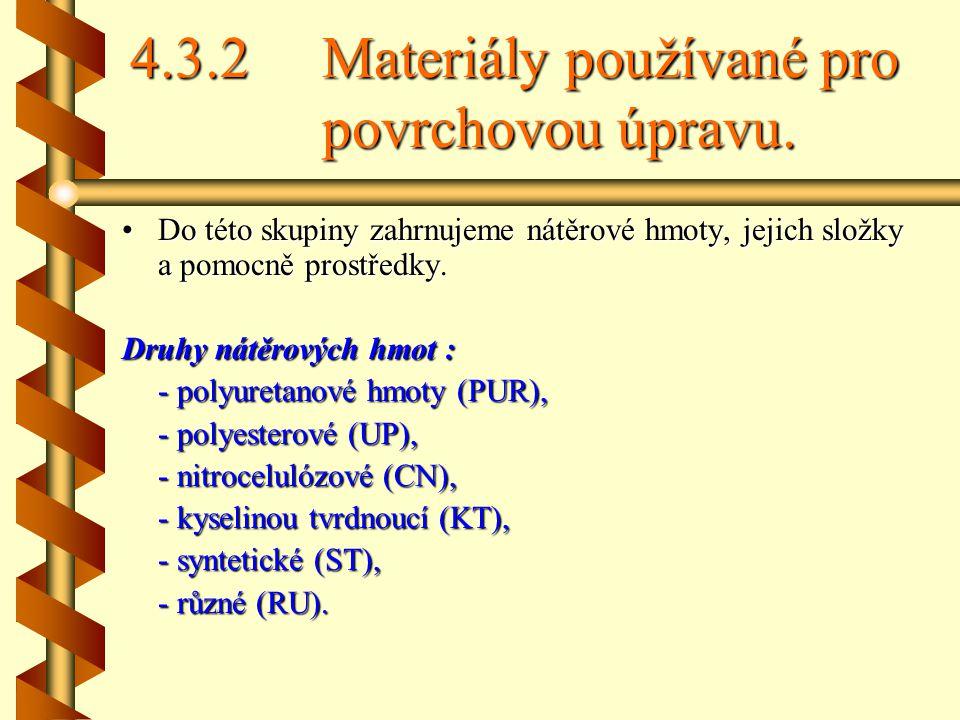 4.3.2 Materiály používané pro povrchovou úpravu.