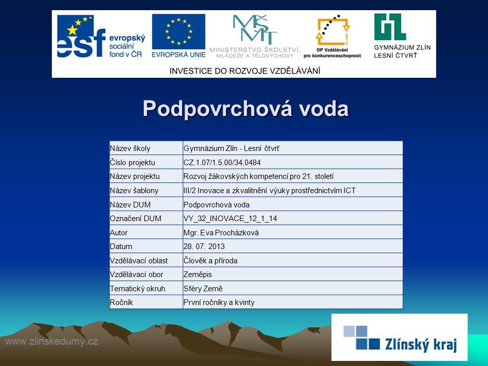 Podpovrchová voda www.zlinskedumy.cz Název školy