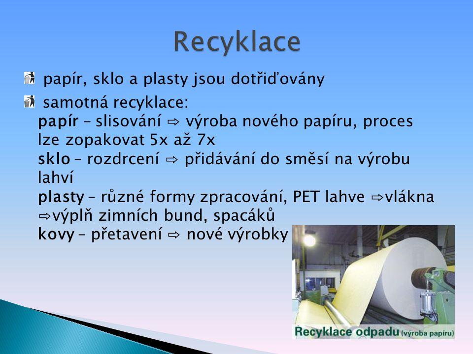 Recyklace papír, sklo a plasty jsou dotřiďovány