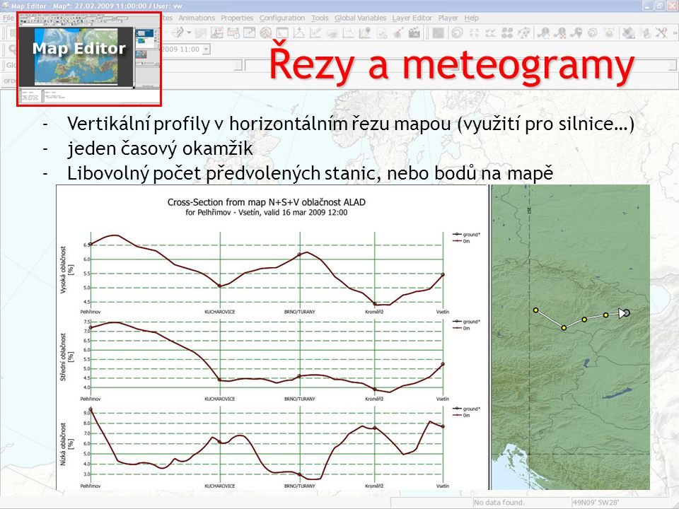 Řezy a meteogramy Vertikální profily v horizontálním řezu mapou (využití pro silnice…) jeden časový okamžik.