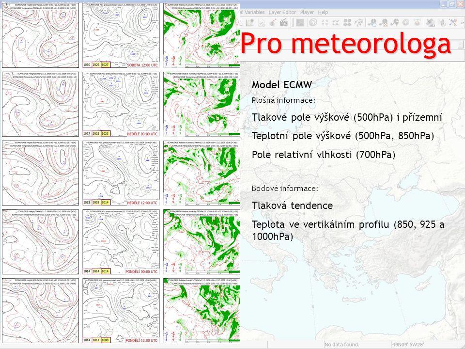 Pro meteorologa Model ECMW Tlakové pole výškové (500hPa) i přízemní