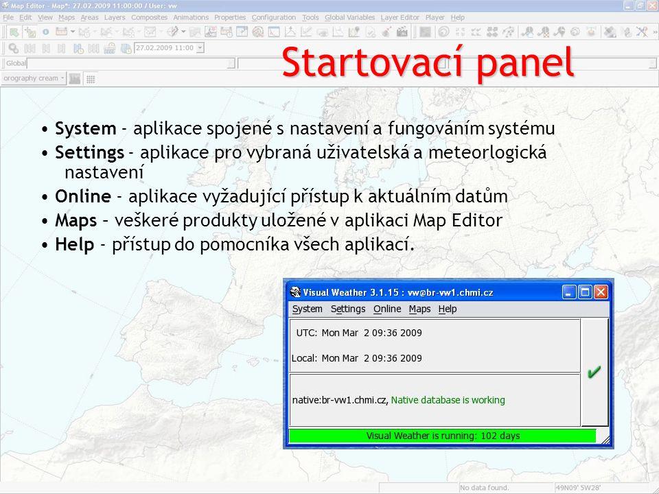 Startovací panel • System ‐ aplikace spojené s nastavení a fungováním systému.