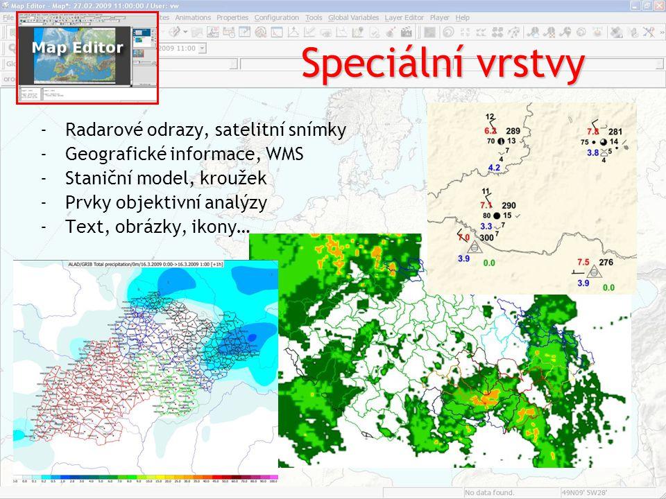 Speciální vrstvy Radarové odrazy, satelitní snímky