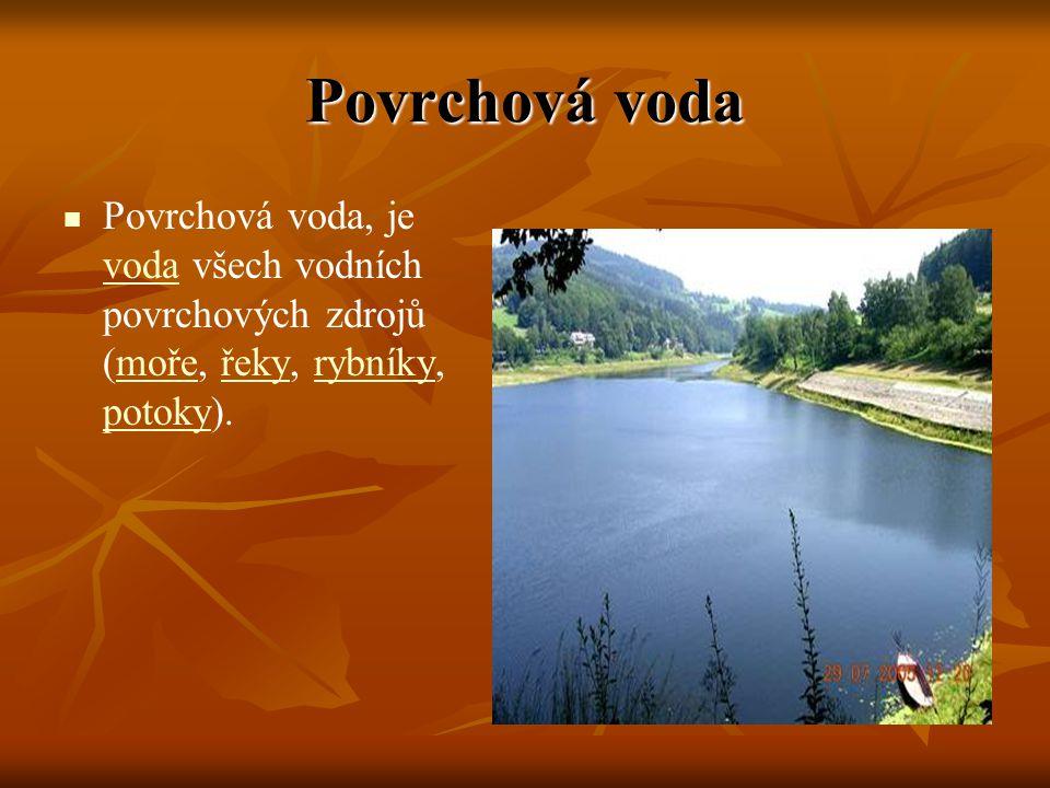 Povrchová voda Povrchová voda, je voda všech vodních povrchových zdrojů (moře, řeky, rybníky, potoky).
