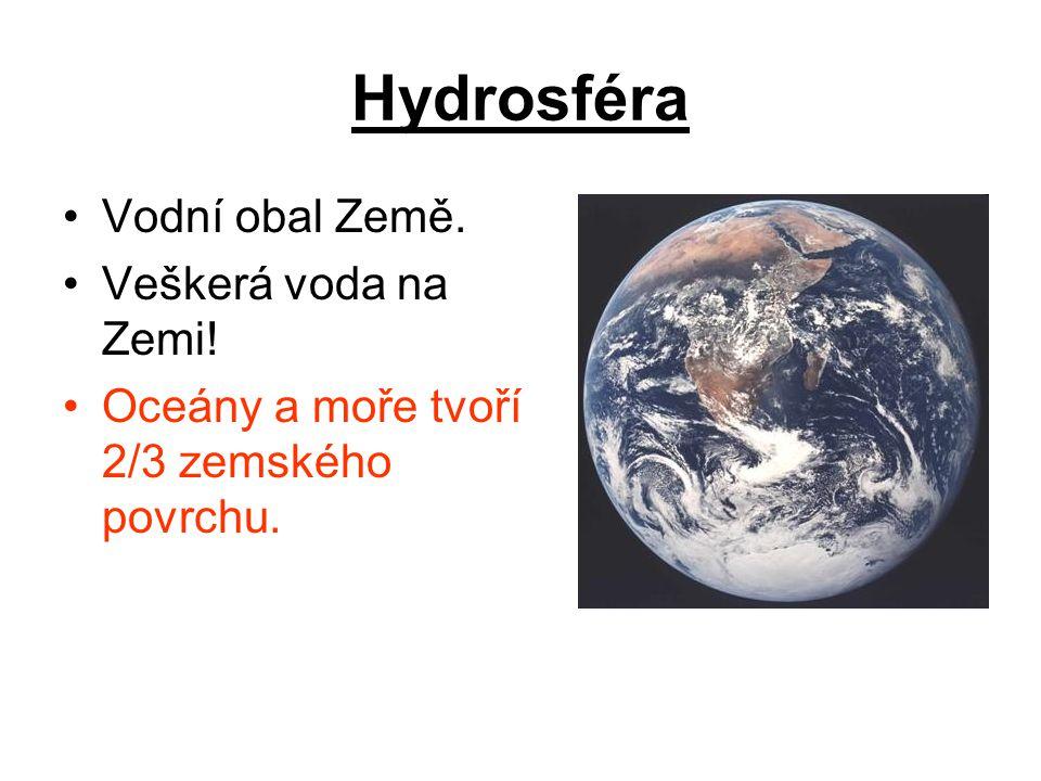 Hydrosféra Vodní obal Země. Veškerá voda na Zemi!
