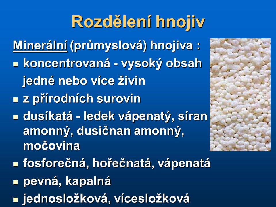 Rozdělení hnojiv Minerální (průmyslová) hnojiva :