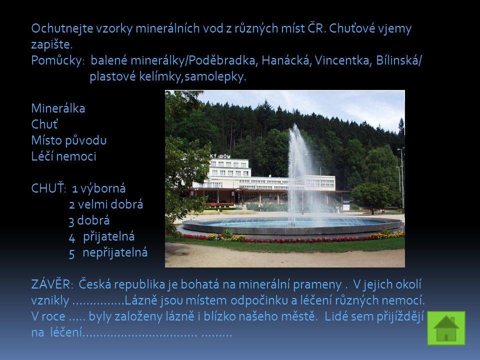 Ochutnejte vzorky minerálních vod z různých míst ČR