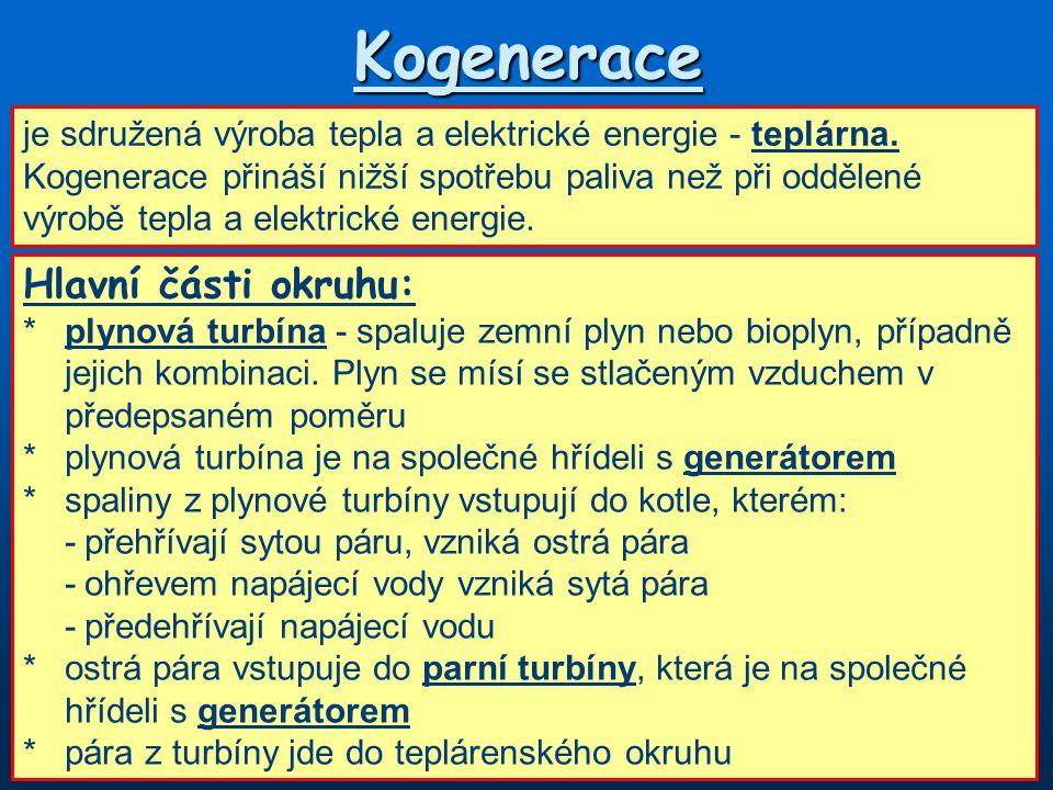 Kogenerace Hlavní části okruhu: