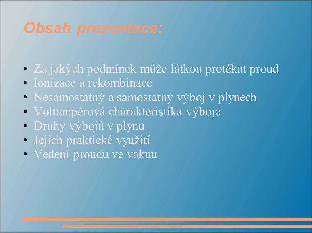 Obsah prezentace: Za jakých podmínek může látkou protékat proud