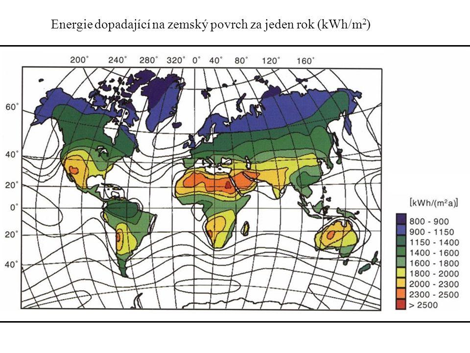 Energie dopadající na zemský povrch za jeden rok (kWh/m2)
