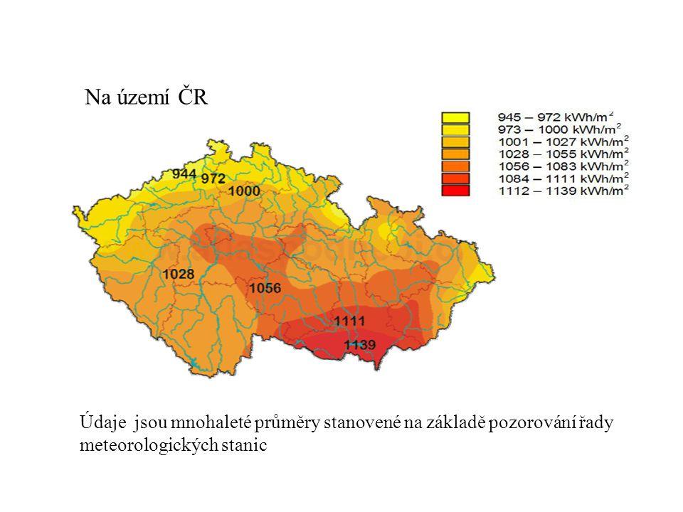 Na území ČR Údaje jsou mnohaleté průměry stanovené na základě pozorování řady meteorologických stanic.