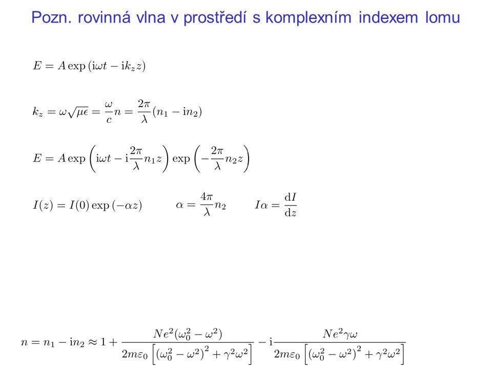 Pozn. rovinná vlna v prostředí s komplexním indexem lomu