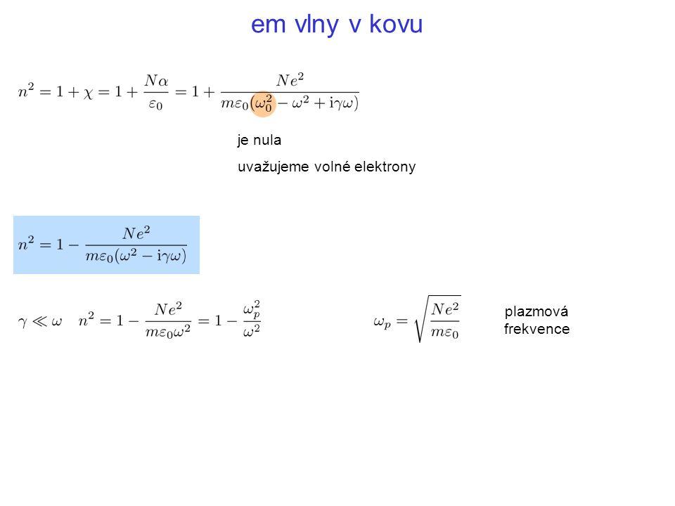 em vlny v kovu je nula uvažujeme volné elektrony plazmová frekvence