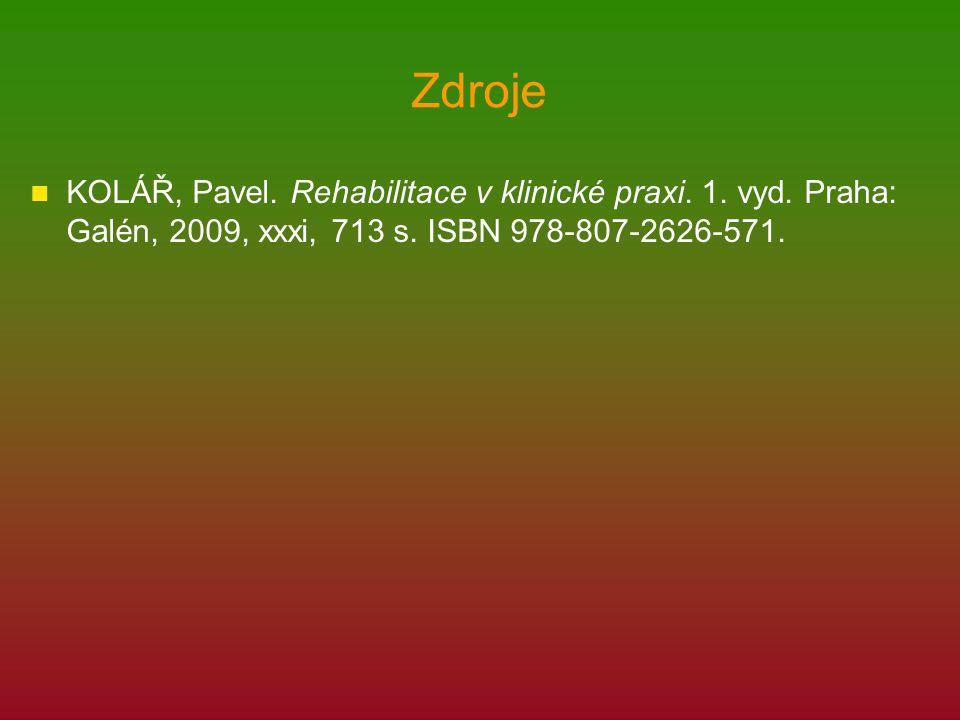 Zdroje KOLÁŘ, Pavel. Rehabilitace v klinické praxi.