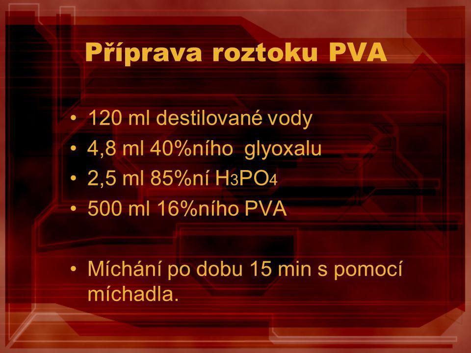 Příprava roztoku PVA 120 ml destilované vody 4,8 ml 40%ního glyoxalu