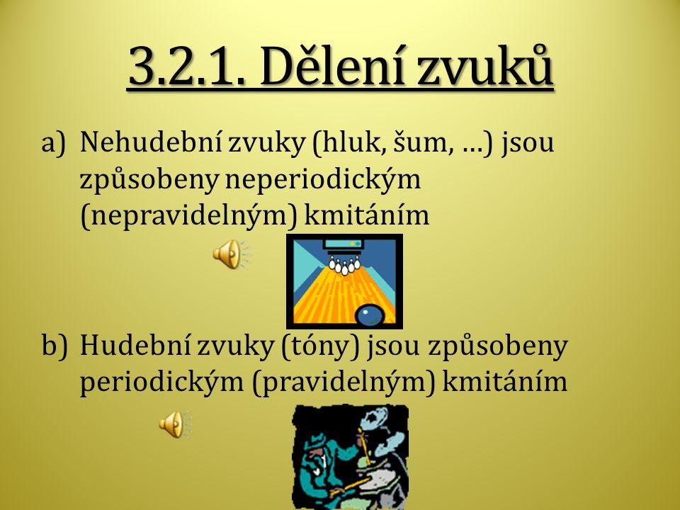 3.2.1. Dělení zvuků Nehudební zvuky (hluk, šum, …) jsou způsobeny neperiodickým (nepravidelným) kmitáním.