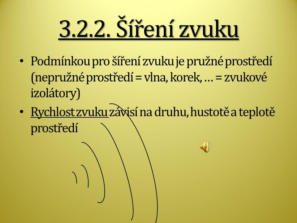 3.2.2. Šíření zvuku Podmínkou pro šíření zvuku je pružné prostředí (nepružné prostředí = vlna, korek, … = zvukové izolátory)