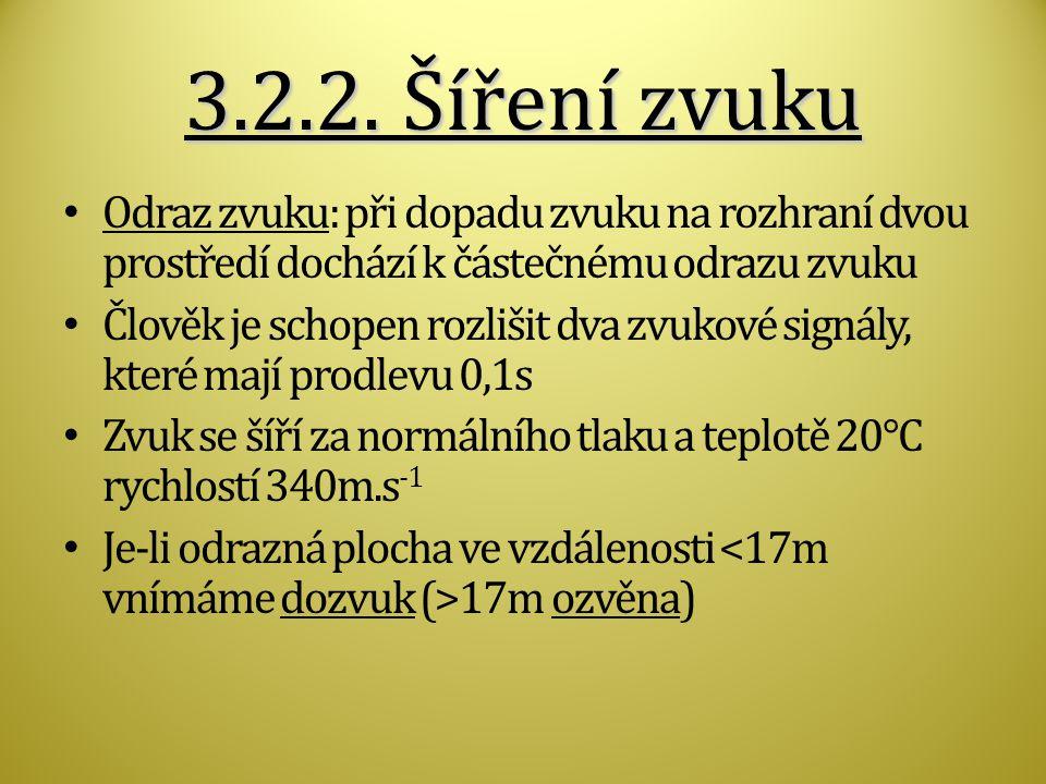 3.2.2. Šíření zvuku Odraz zvuku: při dopadu zvuku na rozhraní dvou prostředí dochází k částečnému odrazu zvuku.