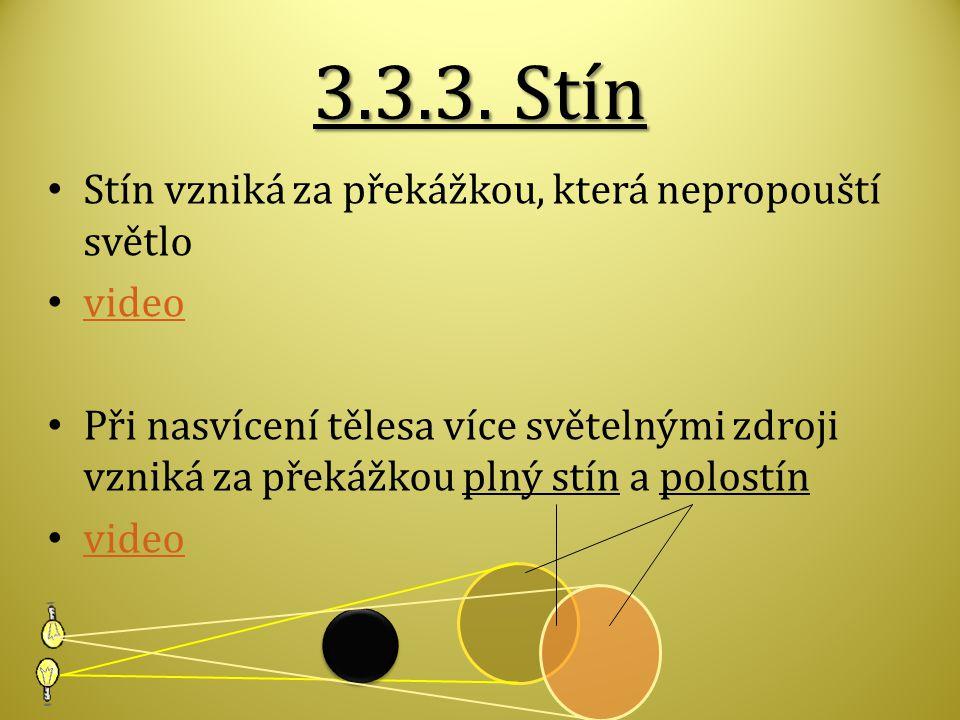 3.3.3. Stín Stín vzniká za překážkou, která nepropouští světlo video