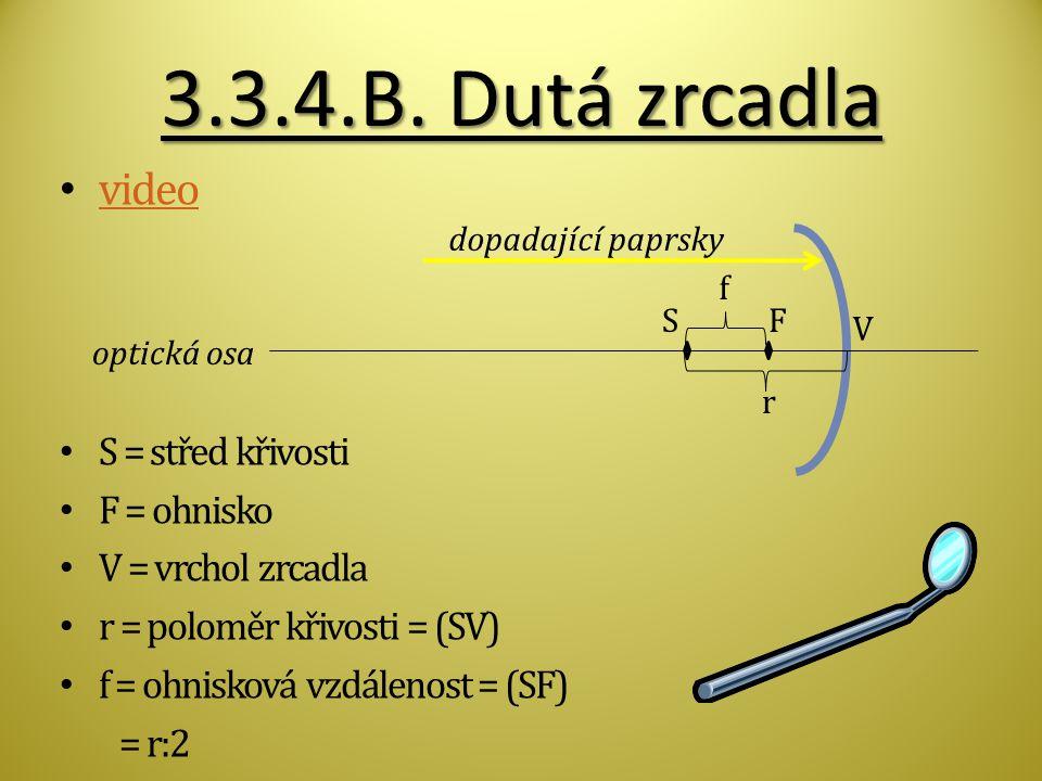 3.3.4.B. Dutá zrcadla video S = střed křivosti F = ohnisko