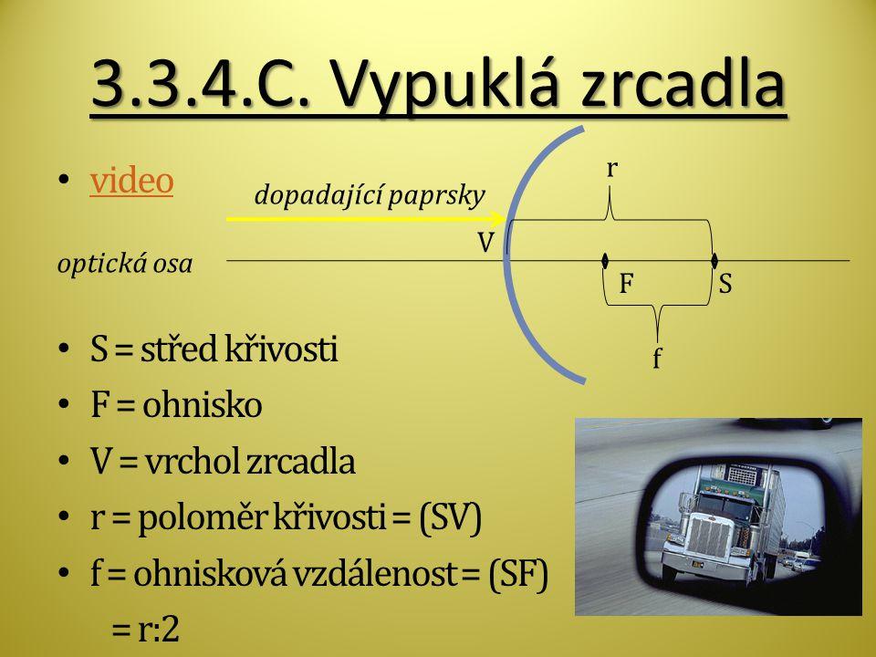 3.3.4.C. Vypuklá zrcadla video S = střed křivosti F = ohnisko