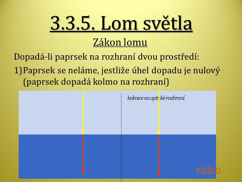 3.3.5. Lom světla Zákon lomu video