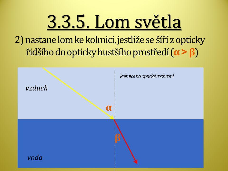 3.3.5. Lom světla 2) nastane lom ke kolmici, jestliže se šíří z opticky řidšího do opticky hustšího prostředí (α > β)