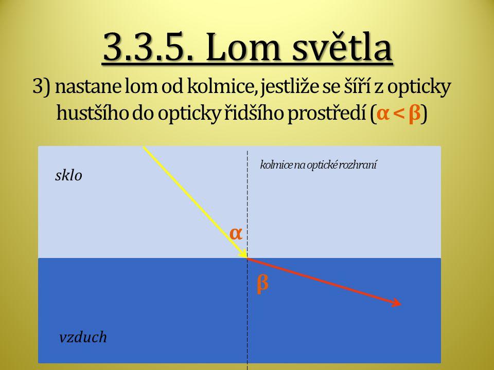 3.3.5. Lom světla 3) nastane lom od kolmice, jestliže se šíří z opticky hustšího do opticky řidšího prostředí (α < β)