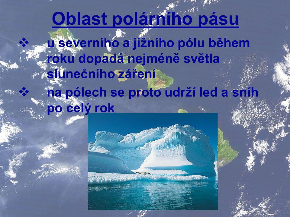 Oblast polárního pásu u severního a jižního pólu během roku dopadá nejméně světla slunečního záření.
