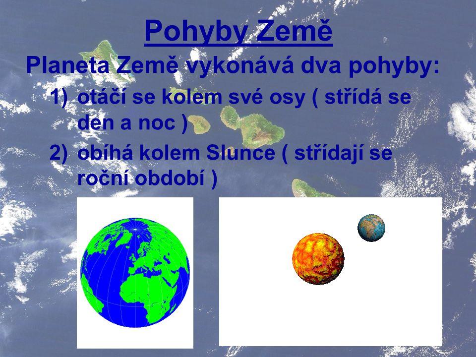 Pohyby Země Planeta Země vykonává dva pohyby: