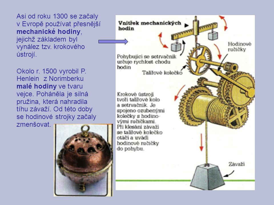 Asi od roku 1300 se začaly v Evropě používat přesnější mechanické hodiny, jejichž základem byl vynález tzv. krokového ústrojí.
