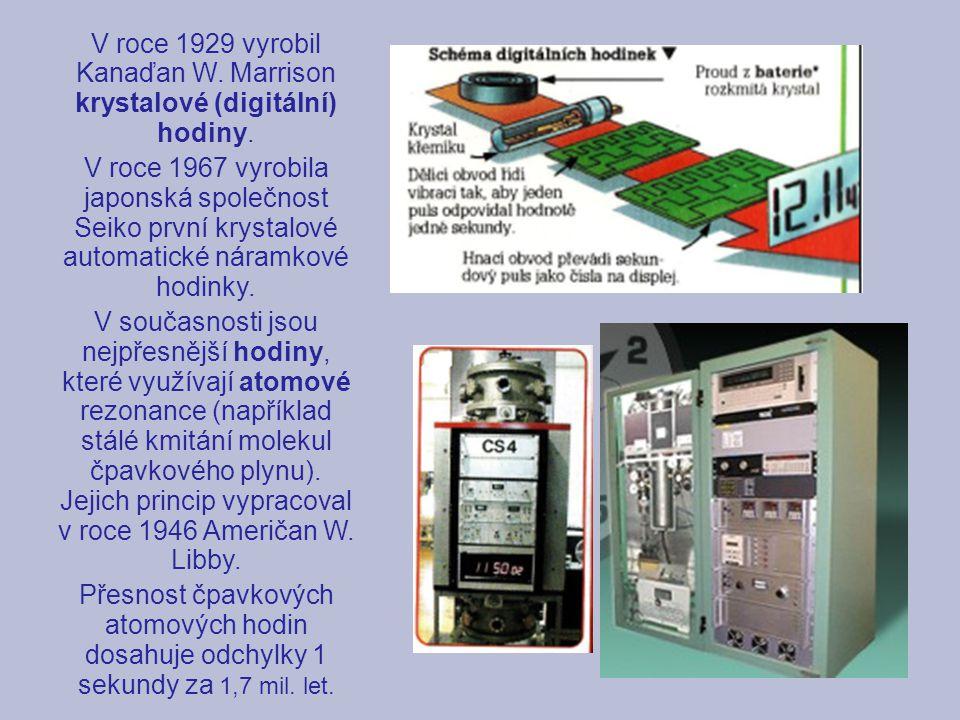 V roce 1929 vyrobil Kanaďan W. Marrison krystalové (digitální) hodiny.