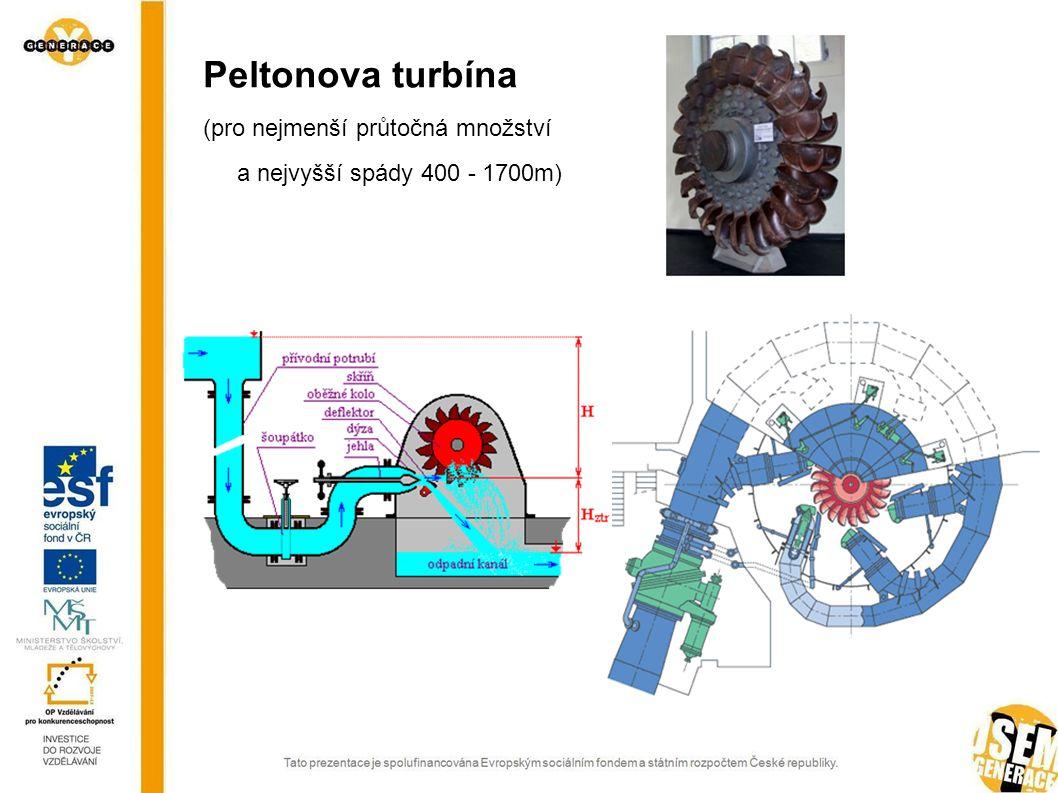 Peltonova turbína (pro nejmenší průtočná množství