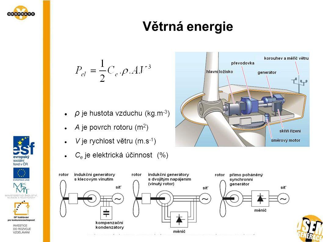 Větrná energie ρ je hustota vzduchu (kg.m-3) A je povrch rotoru (m2)