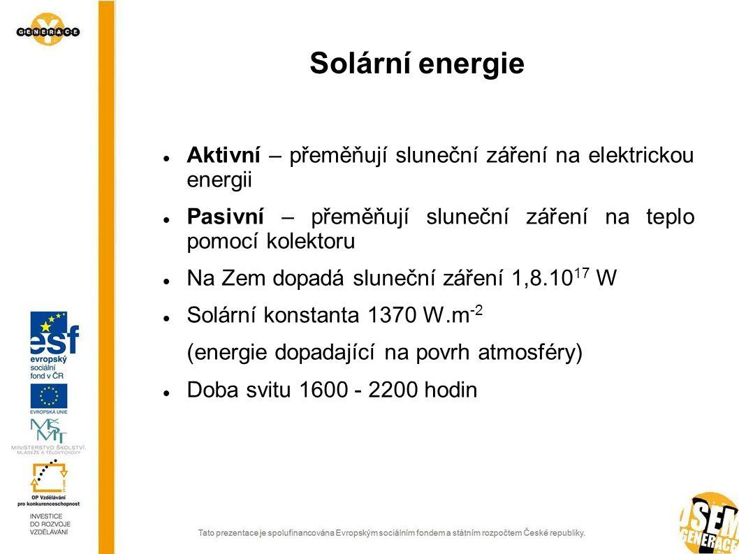 Solární energie Aktivní – přeměňují sluneční záření na elektrickou energii. Pasivní – přeměňují sluneční záření na teplo pomocí kolektoru.