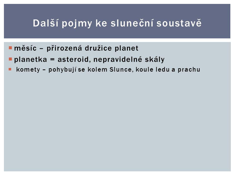Další pojmy ke sluneční soustavě