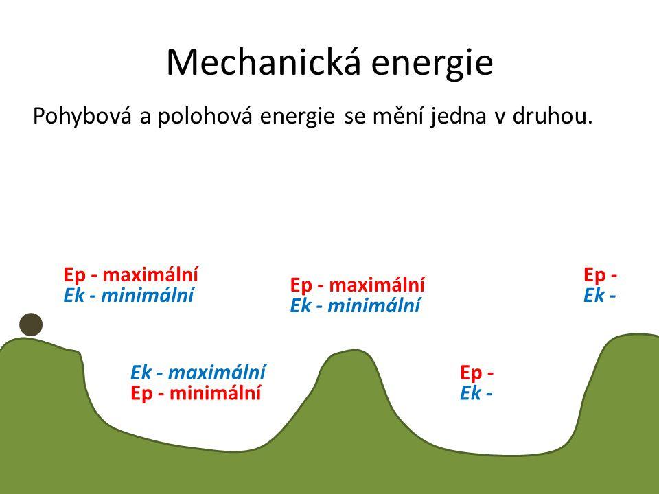 Mechanická energie Pohybová a polohová energie se mění jedna v druhou.