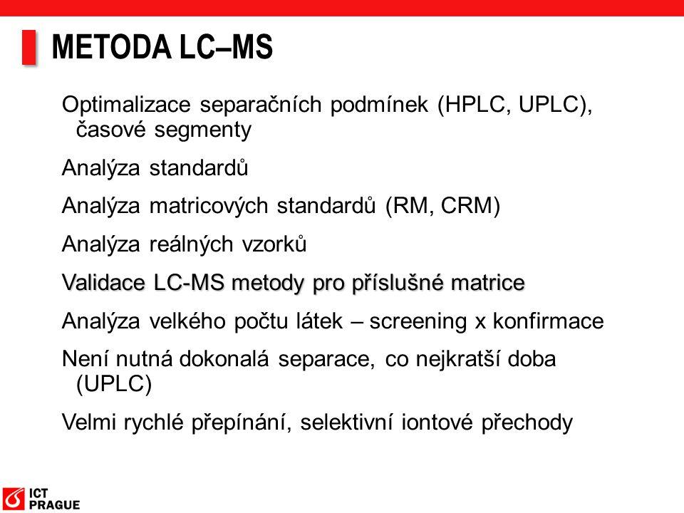 METODA LC–MS Optimalizace separačních podmínek (HPLC, UPLC), časové segmenty. Analýza standardů. Analýza matricových standardů (RM, CRM)