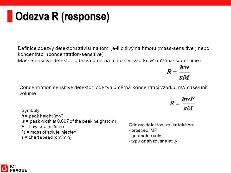 Odezva R (response) Definice odezvy detektoru závisí na tom, je-li citlivý na hmotu (mass-sensitive ) nebo koncentraci (concentration-sensitive)