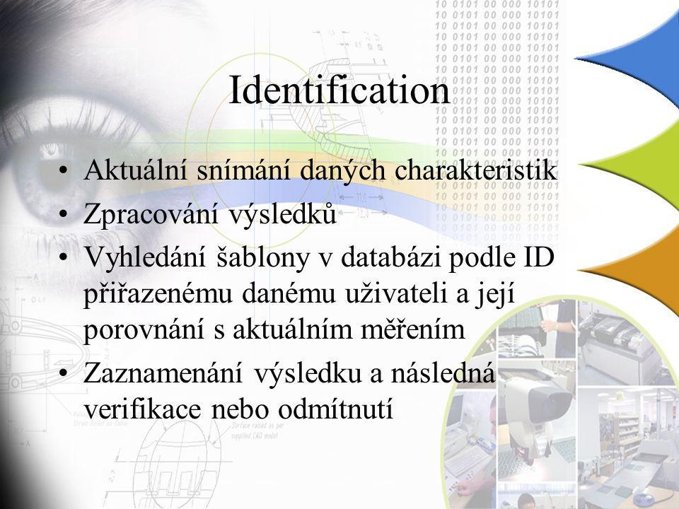 Identification Aktuální snímání daných charakteristik
