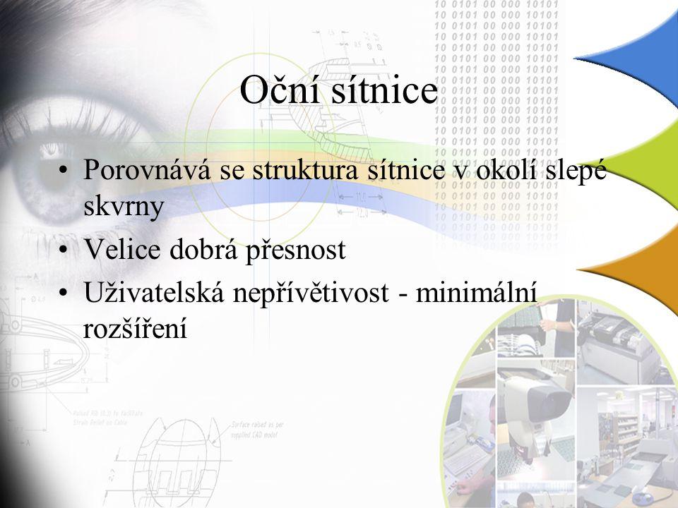 Oční sítnice Porovnává se struktura sítnice v okolí slepé skvrny