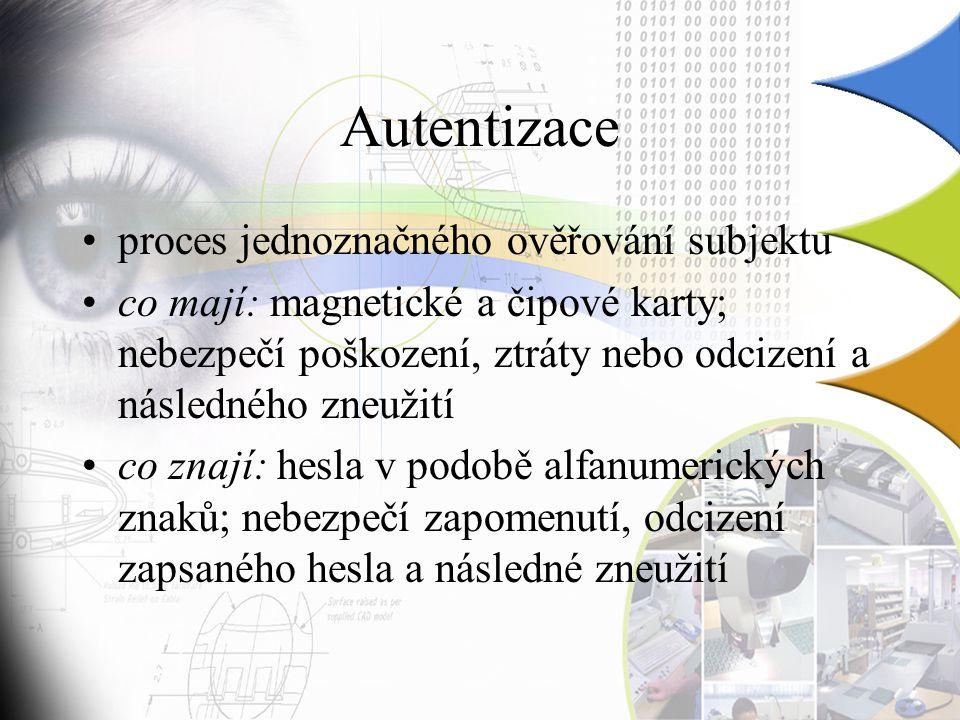 Autentizace proces jednoznačného ověřování subjektu