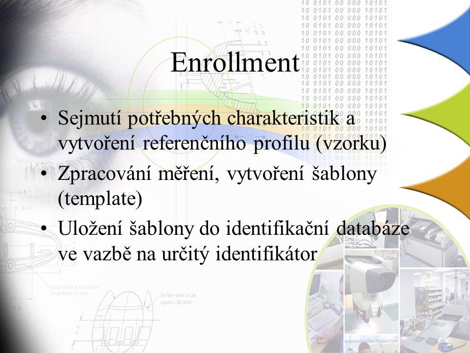 Enrollment Sejmutí potřebných charakteristik a vytvoření referenčního profilu (vzorku) Zpracování měření, vytvoření šablony (template)