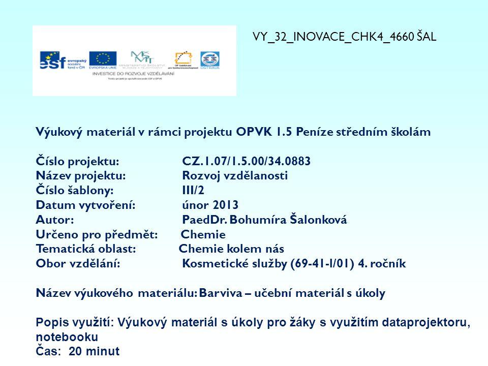 VY_32_INOVACE_CHK4_4660 ŠAL Výukový materiál v rámci projektu OPVK 1.5 Peníze středním školám. Číslo projektu: CZ.1.07/1.5.00/34.0883.