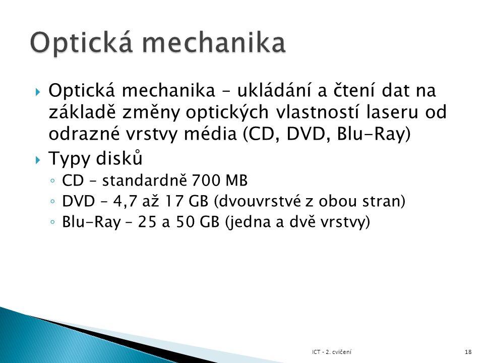 Optická mechanika Optická mechanika – ukládání a čtení dat na základě změny optických vlastností laseru od odrazné vrstvy média (CD, DVD, Blu-Ray)